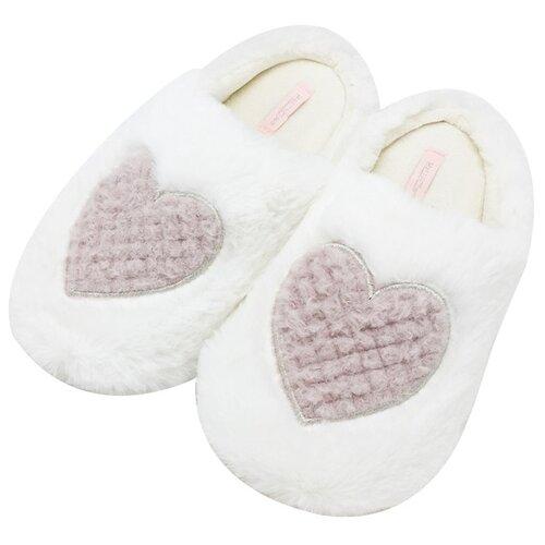 Тапочки Пушистые сердечки Halluci белый 36-37 (Halluci)Домашняя обувь<br>