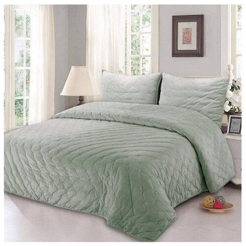 цена Комплект с покрывалом Sofi De MarkO Иоланта 240x260 см, зеленый онлайн в 2017 году