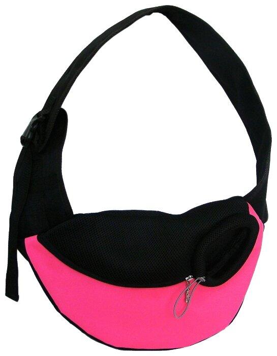 Переноска-слинг для кошек и собак Melenni Эконом S 40х25х11 см розовый/черный