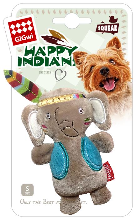 Дразнилка для собак GiGwi Happy Indians Слоник с пищалкой (75409)