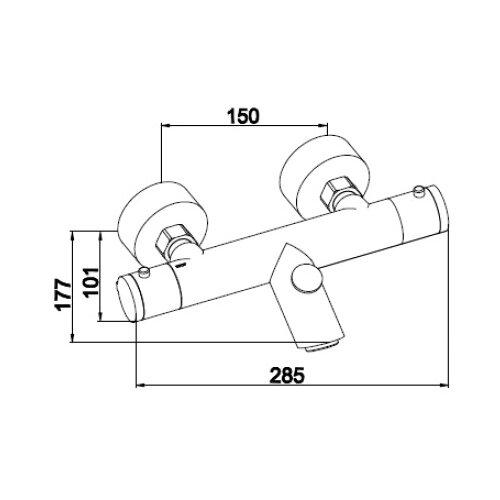 Смеситель для ванны с подключением душа KAISER Thermo 18355 двухрычажный с термостатом смеситель для душа kaiser trio 57077 двухрычажный