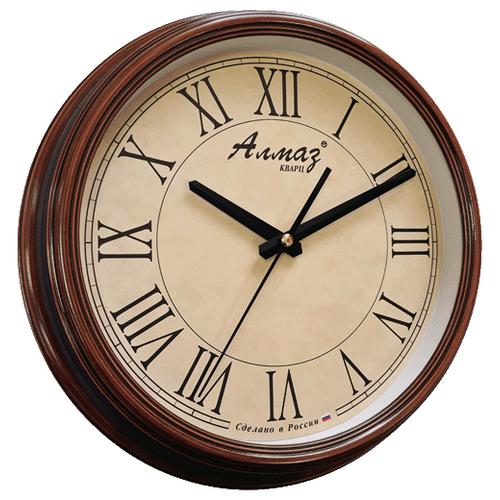 Часы настенные кварцевые Алмаз A18 бежевый/коричневый под деревоЧасы настенные<br>