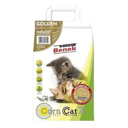 Комкующийся наполнитель Super Benek Кукурузный Golden 7 л комкующийся наполнитель super benek компакт натуральный 5 л
