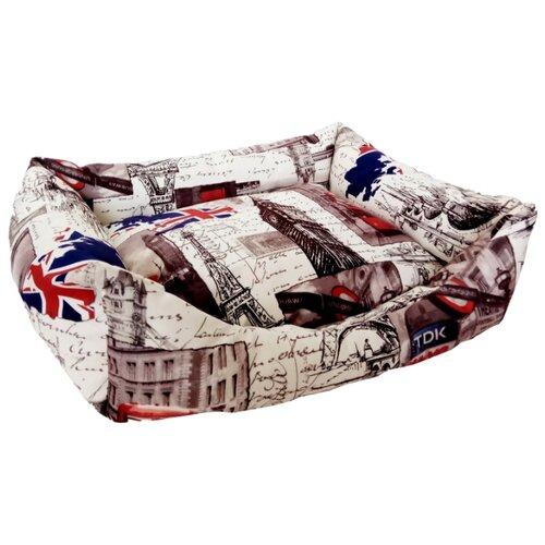 Лежак для собак и кошек LOORI Z1811 50х40х15 см с принтом
