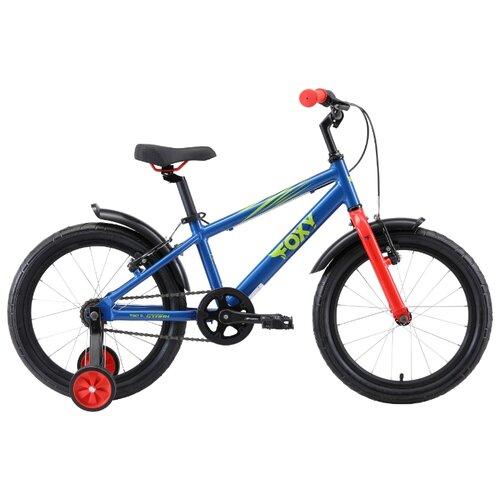 Детский велосипед STARK Foxy 18 (2019) синий/зеленый/красный (требует финальной сборки) велосипед stark 20 foxy 14 girl бирюзовый розовый