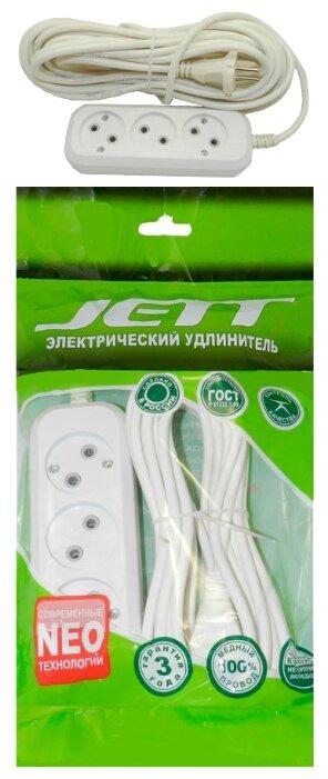 Удлинитель Jett 155-209 РС-3 (провод ПВС 2х0.75) , 3 розетки, 10 м, б/з, 10А / 2200 Вт — купить по выгодной цене на Яндекс.Маркете