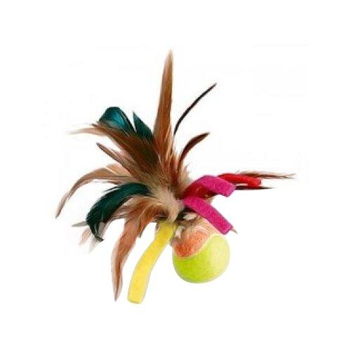 Мячик для кошек GiGwi Cat Toys с перьями (75068) коричневый/зеленый/желтый дразнилка для кошек gigwi feather teaser с ручкой 75429 коричневый черный