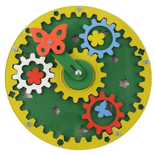 Развивающая игрушка Большой слон Полянка желтый/голубой/красный/белый/зеленый