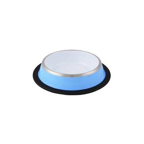 Миска Ankur с резиновым основанием 450 мл голубой/белый