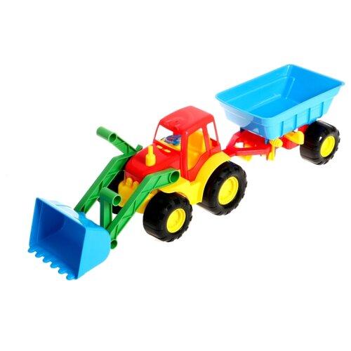 Купить Трактор ZEBRATOYS с ковшом и прицепом Active (15-5212) 59 см, Машинки и техника