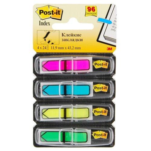 Купить Post-it Закладки Professional, 12 мм, 4 цвета, 96 штук (684-ARR4-RU) розовый/голубой/желтый/зеленый, Бумага для заметок