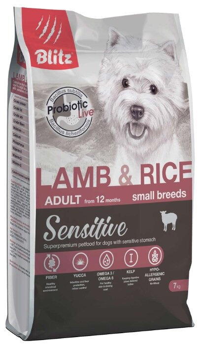 Корм для собак Blitz (7 кг) Adult Dog Lamb & Rice Small Breeds dry