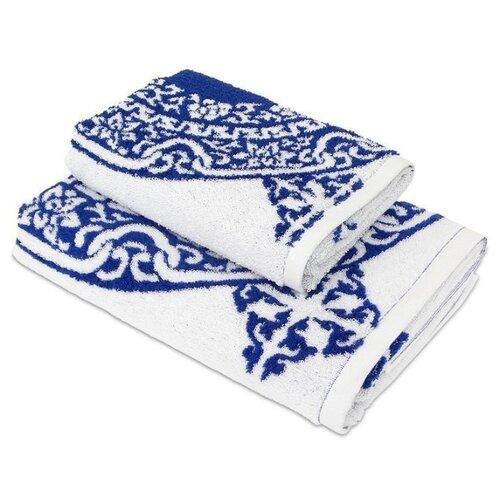 Wellness Полотенце Лабиринт банное 70х140 см синий узор