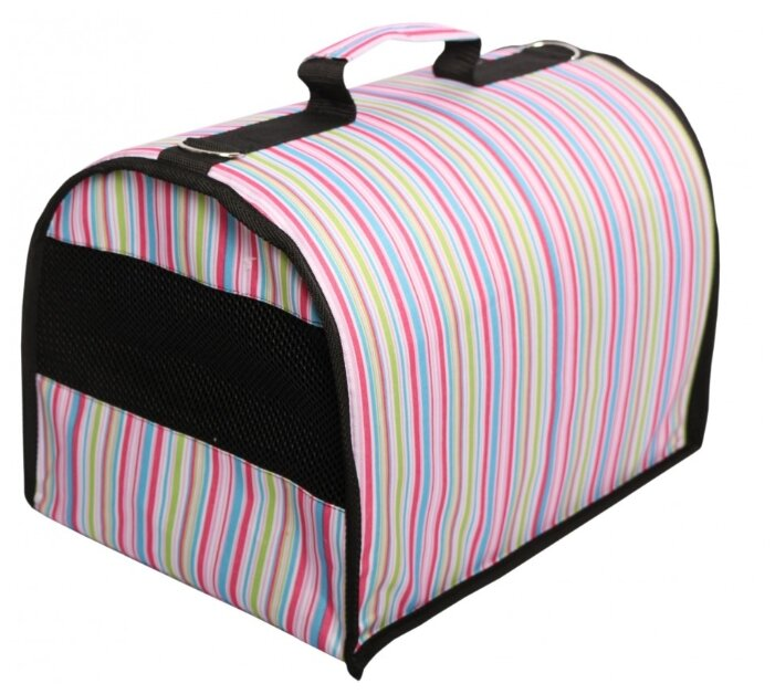 Переноска-сумка для собак Lion Standart S 40х25х25 см розовый сердечки