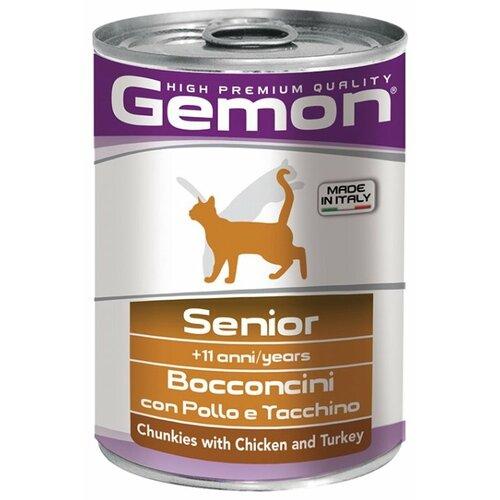 Корм для кошек Gemon (0.415 кг) 24 шт. Кусочки с курицей и индейкой. Консервы для пожилых кошек
