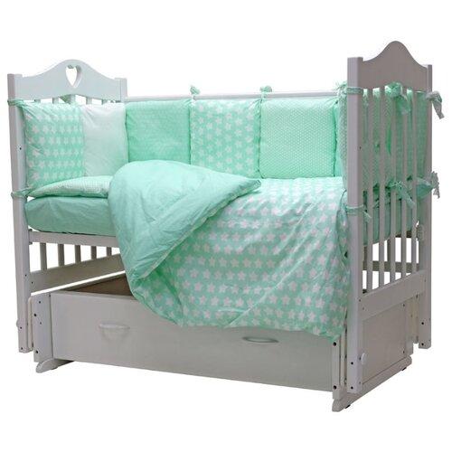 Топотушки комплект в кроватку 12 месяцев (6 предметов) бирюзовыйПостельное белье и комплекты<br>