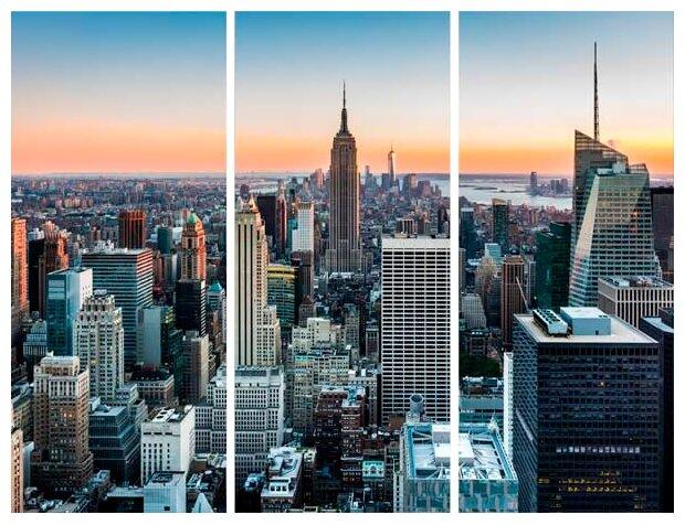 Модульная картина на холсте 90x90 Нью йорк вечер Экорамка HE-107-183