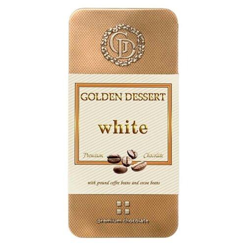 Шоколад Golden Dessert белый с молотыми кофейными зернами и какао-бобами, 100 г шоколад горький golden dessert 72% с апельсином 100 г