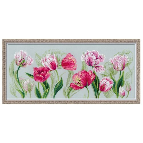 Купить Риолис Набор для вышивания Premium Весенние тюльпаны 70 х 30 см (100/052), Наборы для вышивания