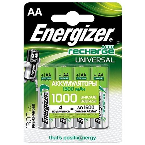 Фото - Аккумулятор Ni-Mh 1300 мА·ч Energizer Accu Recharge Universal AA 4 шт блистер аккумулятор ni mh 2600 ма·ч varta recharge accu power 2600 aa 4 шт блистер