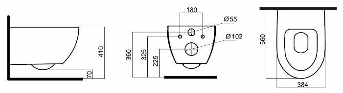 Чаша унитаза подвесная AM.PM Awe C111738WH с горизонтальным выпуском
