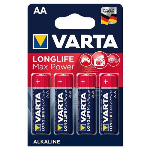 Батарейка VARTA LONGLIFE Max Power AA 4 шт блистер батарейка varta longlife power 3lr12 1 шт блистер