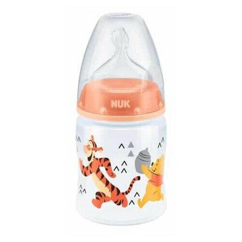 бутылочка для кормления nuk first choice пласт 150 мл с силиконовой насадкой для питья голубая NUK First Choice Plus Disney Winnie the Pooh бутылочка 150 мл с рождения, персиковый