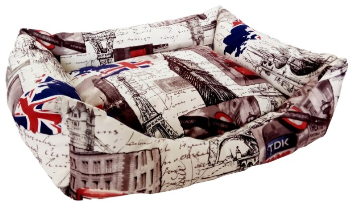 Лежак для кошек, для собак LOORI Z1828 55х45х17 см с принтом