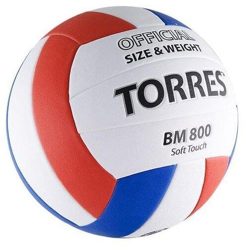 цена на Волейбольный мяч TORRES BM800 белый/синий/красный