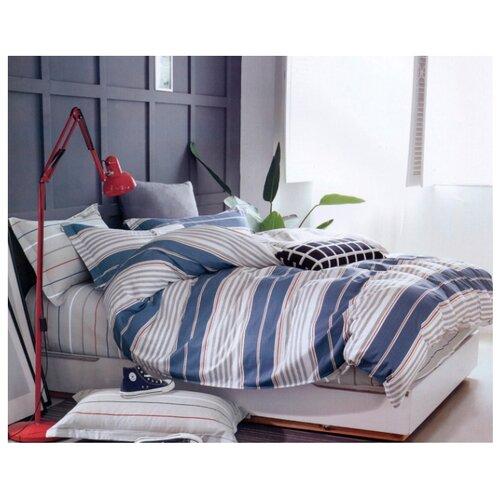 Постельное белье 2-спальное Sulyan Рафаэль сатин, 70 х 70 см белый / синий