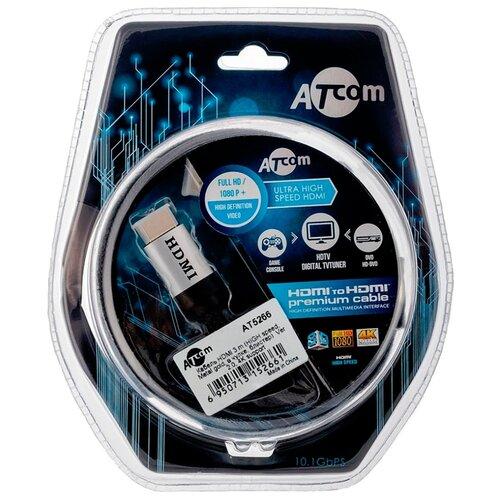 Кабель Atcom High speed HDMI - HDMI 3 м серебристый/черныйКабели и разъемы<br>