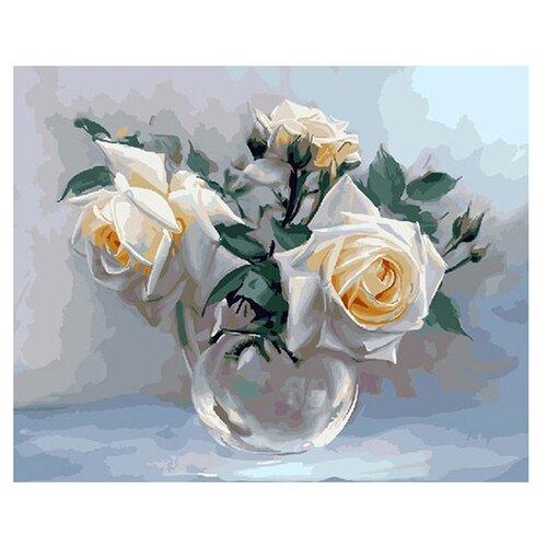 Molly Картина по номерам Белые розы 40х50 см (KH0193) molly картина по номерам тигр 40 50 см