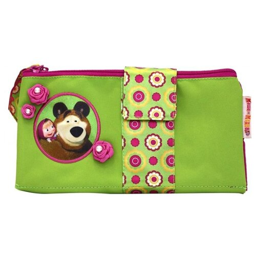 Купить РОСМЭН Двойной пенал-косметичка Маша и Медведь Маленькая Модница (19490) зеленый/розовый, Пеналы