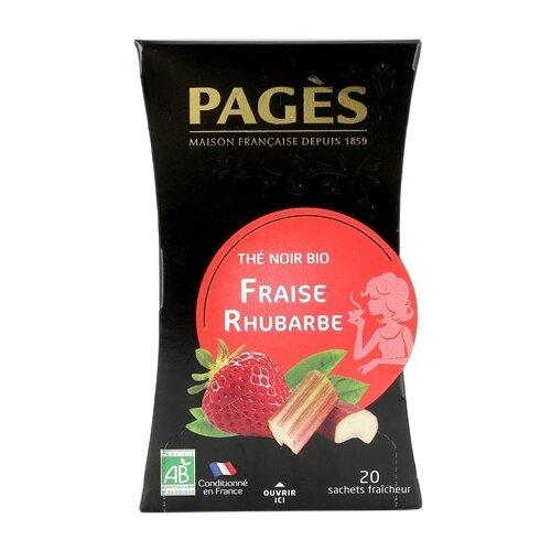 Чай черный Pages Fraise rhubarbe в пакетиках , 20 шт.