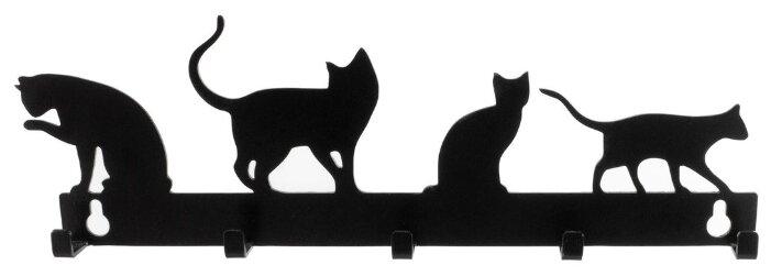 Ключница, 4 кота, металл, черный, 90