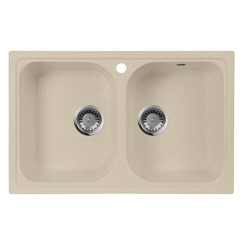 Врезная кухонная мойка 77.5 см А-Гранит M-15 бежевый