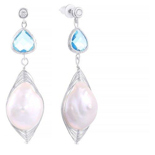 JV Серебряные серьги с жемчугом, кубическим цирконием, ювелирным стеклом CYZPE0199-SR-WB-US-001-WG