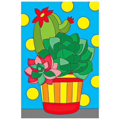 Купить Рыжий кот Картина по номерам Красивые кактусы, 10х15 см, X-9359, Картины по номерам и контурам