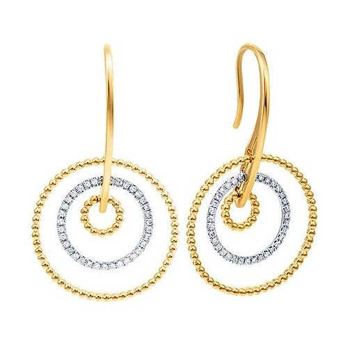JV Серьги из золота 585 пробы и белого золота 585 пробы с бриллиантами E55002B0S214YW001-SR-WJ