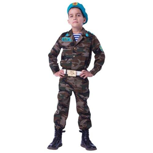 Купить Костюм пуговка Десантник (2050 к-18), коричневый/голубой, размер 140, Карнавальные костюмы