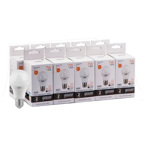 Упаковка светодиодных ламп 10 шт gauss 23217A, E27, A60, 7Вт упаковка светодиодных ламп 10 шт gauss 102502210 e27 a60 10вт