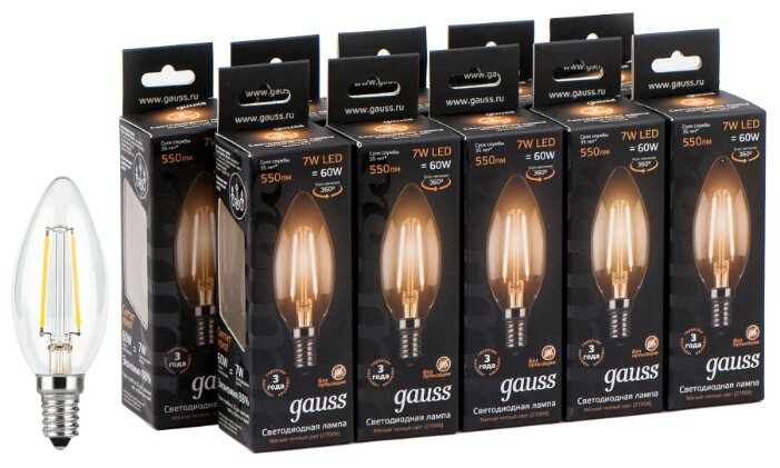 Упаковка светодиодных ламп Gauss Black Filament LED Candle E14 7W 2700K 103801107 x10