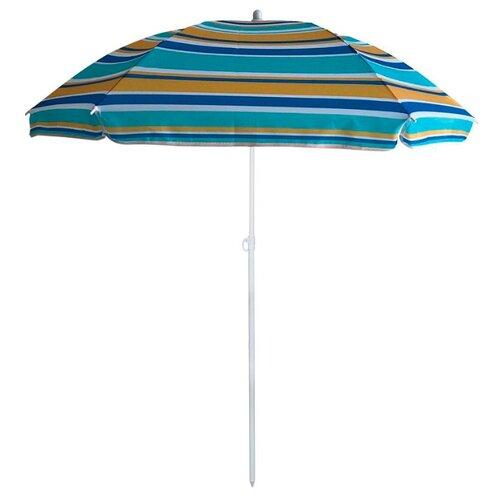 Пляжный зонт ECOS BU-61 купол 130 см, высота 170 см синий/голубой/бежевый цена 2017