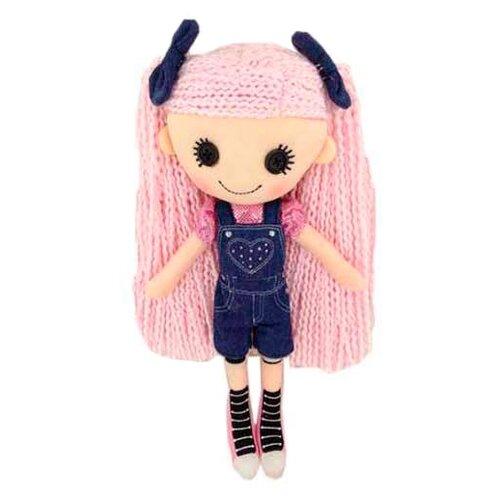 Мягкая игрушка ABtoys Кукла джинсовая с розовыми волосами в комбинезоне 25 см