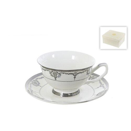 набор чайный best home porcelain indigo 200 мл 4 предмета Чайный набор 4 предмета Rochelle, 200 мл (серебряная обводка)