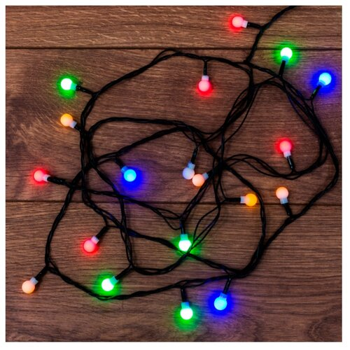 Гирлянда NEON-NIGHT Шарики, 20 LED, 280 см, 20 ламп, разноцветный/зеленый провод гирлянда neon night колокольчики 20 led 280 см 20 ламп разноцветный зеленый провод