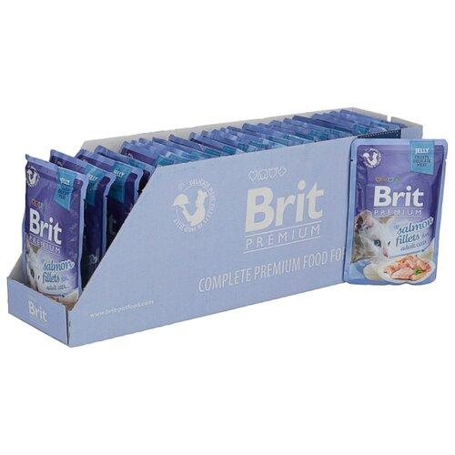Корм для кошек Brit Premium беззерновой, с лососем 24шт. х 85 г (кусочки в желе)Корма для кошек<br>