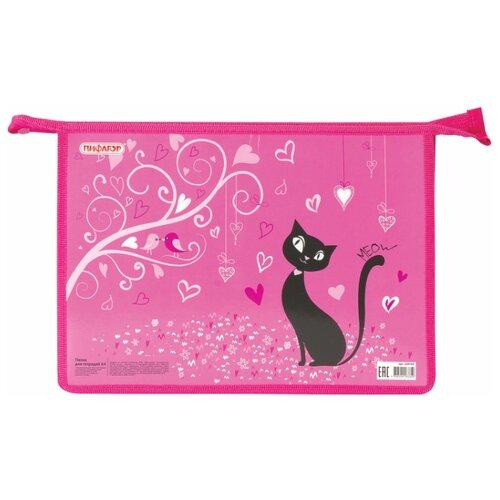 Пифагор Папка для тетрадей Black Cat А4 розовый по цене 302