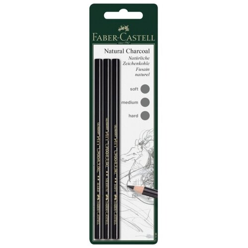 Faber-Castell Набор угольных карандашей Pitt, 3 штуки