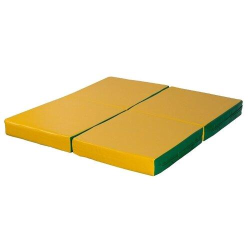 Спортивный мат 1000х1000х100 мм КМС № 11 зелёно/жёлтый